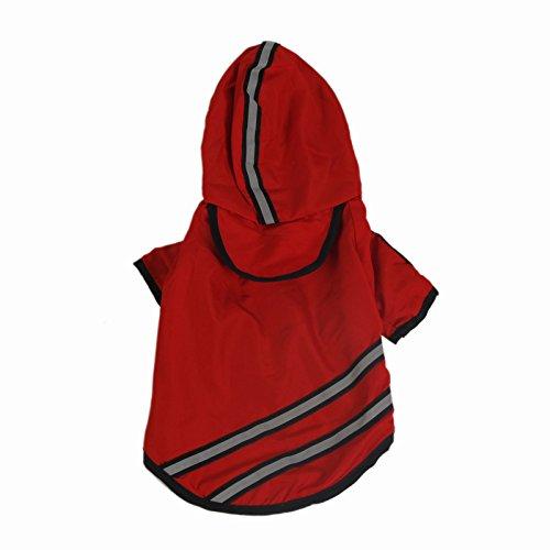 PAWZ Road Hunde Regenmantel Reflektierend mit Abnehmbaren Hut wasserdicht Regenjacke Regenkleidung Kostüm Hundemantel Hundebekleidung Hundejacke für kleine mittlere große Hunde S Rot Brustumfang (Hund Kleiner Großer Hund Kostüme)