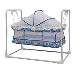 Baby Cradle Cot For Baby with Wheels & Canopy Blue : Oximus