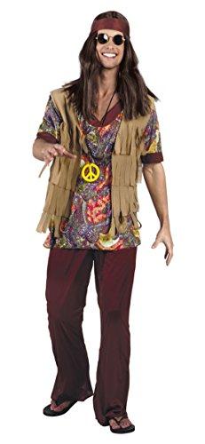 Faschingsfete Herren Hochwertiges Kostüm Hippie, Mehrfarbig, Größe -