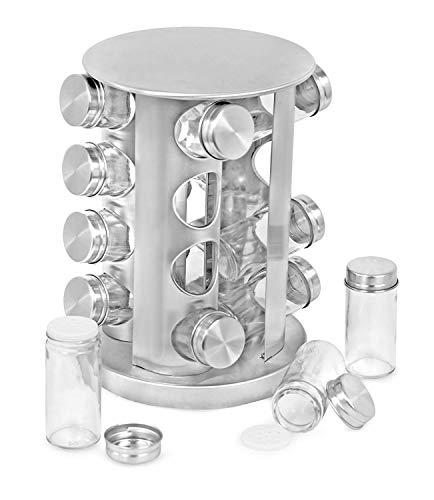 Portaspezie in acciaio–rotondi o quadrati girevole in kitchen storage organizer salvaspazio per condimento spezie essiccate 16 spice jars