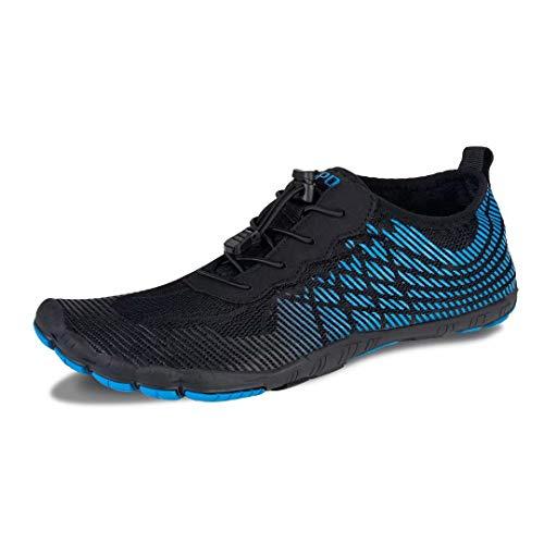 Herren Damen Outdoor Fitnessschuhe Barfußschuhe Trekking Schuhe Badeschuhe Schnell Trocknend rutschfest(Blau,48 EU)