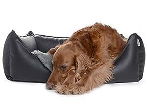 Dreamcollection Hundebett aus Kunstleder, Größe: XL (130 x 110 cm), Farbe: Schwarz