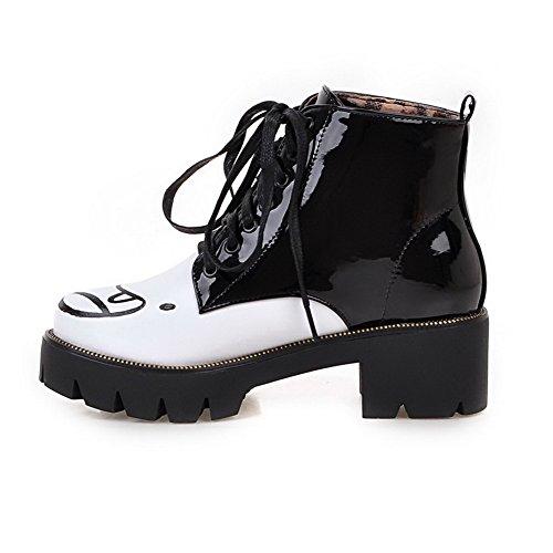 AgooLar Damen Gemischte Farbe Mittler Absatz Schnüren Rund Zehe Stiefel mit Knoten Schwarz