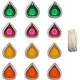 FASHIONFRAME® Diyas For Diwali/Traditional Earthen Clay Diyas/Deepawali Diyas/Handmade Diyas/Decorative Diyas/Multicolor Diyas Set Of 12 Pieces With Batti