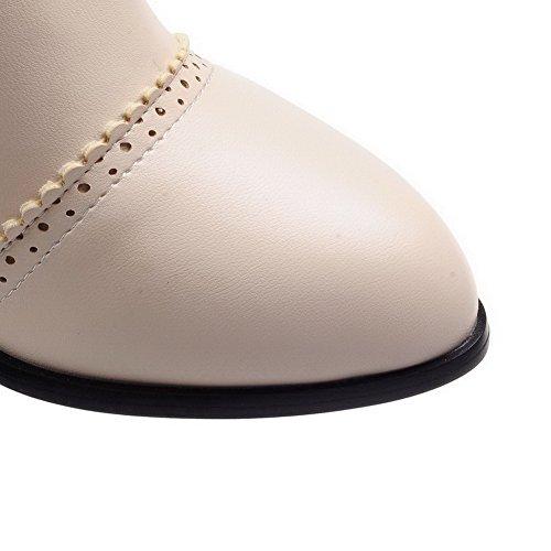 AgooLar Damen Ziehen Auf Mittler Absatz Blend-Materialien Rein Knie Hohe Stiefel Cremefarben