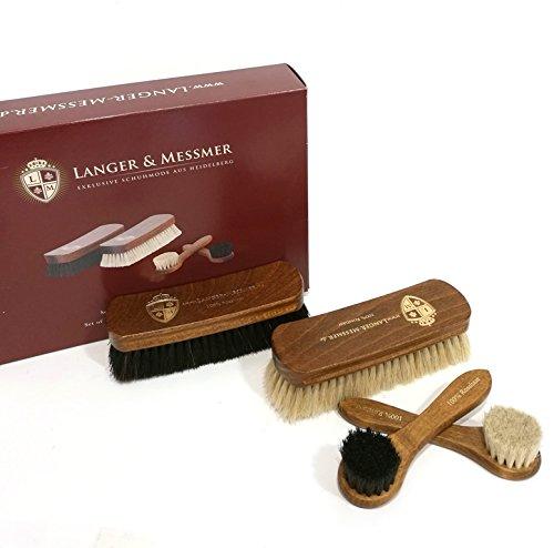 Langer & Messmer Set di 4 Spazzole scarpe in crine di cavallo per la cura e la pulizia professionale della scarpa