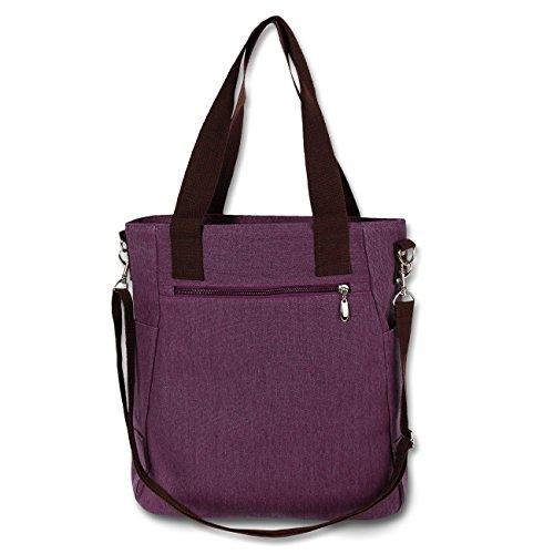 Schultertasche Handtasche Damen Tasche Hobo Beuteltasche Canvas Segeltuch Katzenmotiv Farbwahl OTK217X violett