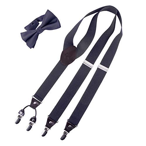 Good & Cool Herren Premium Hosenträger mit Fliege in verschiedenen Farben, 3,5 cm, 80 cm - 120 cm / 12 cm x 6 cm, Grau