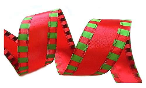 Holiday Weihnachtsband mit Draht, 6,4 cm breit, Rot/Grün