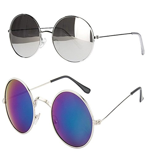 Younky Round Unisex Sunglasses (Cmynk-01-17-006_45_Silver)