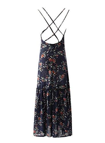 Azbro Women's V Neck Backless Floral Printed Maxi Dress Navy