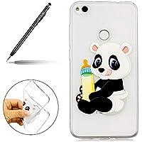 Uposao Huawei P8 Lite 2017 Silikon Handyhüllen Bunt Muster Transparent TPU Silikon Handyhülle Durchsichtige Schutzhülle TPU Weich Tasche,Panda
