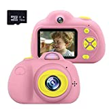 Isabake Cámara para niños, Mini Juguetes para Niños Cámara 8MP HD 1080P Videocámara Infantil Recargable Pantalla de 2.0'' Regalo para Niños Zoom Digital 4X con Tarjeta de Memoria SD de 16 GB (Rosa)