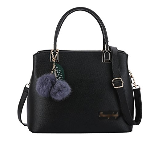 VALIN S885 Nouveau style PU Cuir Sacs portés épaule Sacs portés main,290×120×230(mm) Noir