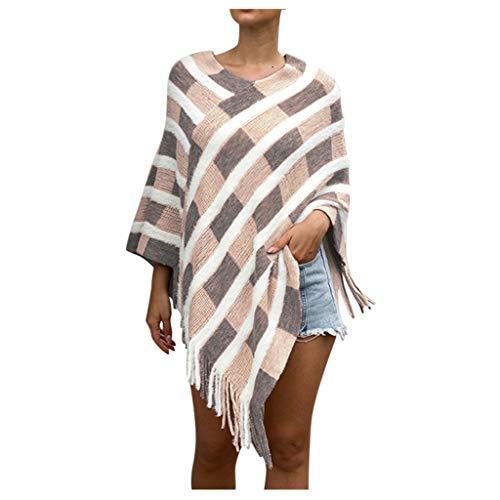 Moent Plus Frauen Winter gestrickte Kaschmir Poncho Capes Schal Strickjacken Pullover Mantel, Tops für Frauen UK Clearance Größe Herbst Winter Bluse -