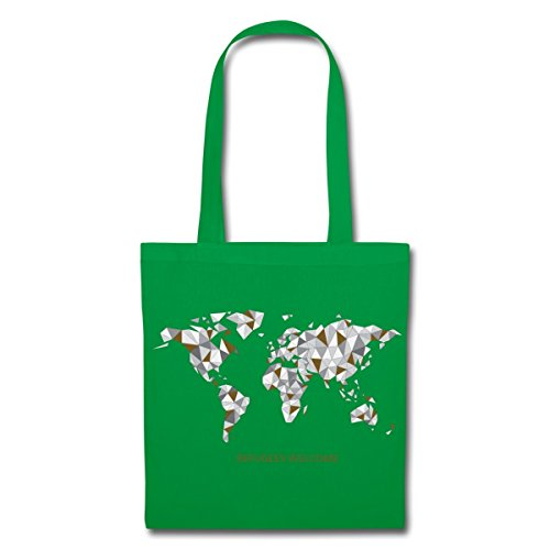 Spreadshirt Refugees Welcome Origami Welt Stoffbeutel Kelly Green