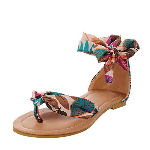 Zehentrenner Sommer Sandaletten/Dorical Damen Übergroßer Bohemia Sandals, Frauen Casual Sandalen Flach Sandaletten Seide Stoff mit Schnürsenkel Elegant Strand Schuhe(Blau,35 EU)