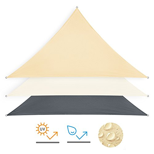 Minuma® Sonnensegel | Wetterschutz | Windschutz | Sonnenschutz| wasserfest aus Polyester mit wasserabweisender PU-Beschichtung und UV-Schutz | Dreieck 3 x 3 x 4,25 m, sand-beige
