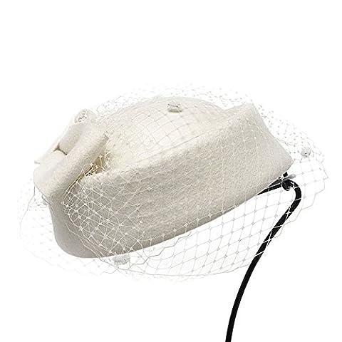 Lawliet Womens Wool Fascinator Retro Pillbox Hat Wool Felt Cocktail Party Wedding Bow Veil (Ivory)