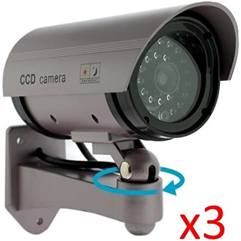 Kabalo 3 x Realistica falsa Telecamera Dummy sicurezza Sorveglianza CCTV LED rosso lampeggiante Indoor Argento [3 x Realistic Fake Dummy CCTV Security Camera Flashing Red LED Indoor Outdoor Silver]