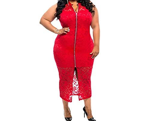 Bling-Bling Womens Plus Size Sleeveless Lace Zipper Front Dress in Red Size 2XL