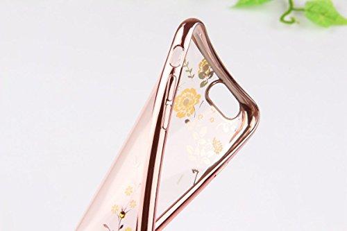 iPhone 7 Plus Hülle,iPhone 7 Plus 2016 Hülle,JAWSEU Luxus Gold Klare Ultradünne Silikon Gel Schutzhülle Durchsichtig Kristall Transparent TPU Silikon Bumper Schutz Handyhülle Case Tasche Etui für iPho Gelb Blumen,Rose Gold