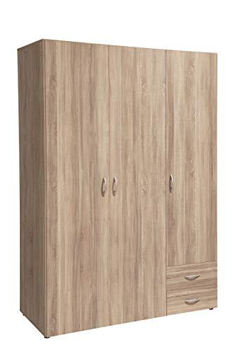 Avanti trendstore - balu 2,3 e 4, armadio ad ante a battente, disponibile in 2 diversi colori e 3 diverse larghezze (marrone, 3 ante)