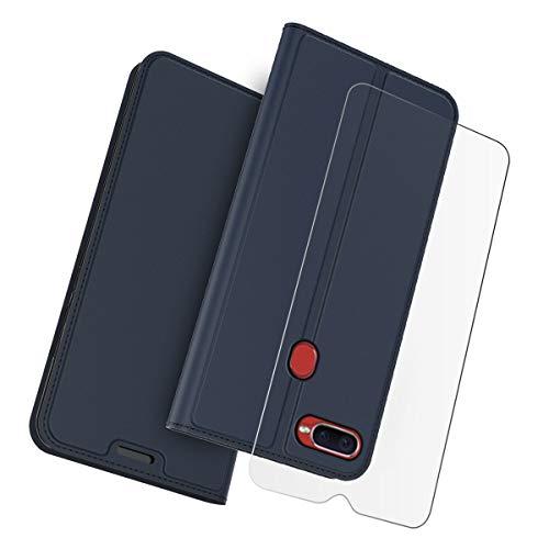 Fusutonus Oppo F9 Hülle + Panzerglas Brieftasche Etui Schale, Lederklapp Handyhülle mit Kartenfach und Ständer, Schutzhülle Tasche Case Cover für Oppo F9 - Blau