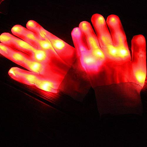 (AOLVO LED-Skelett-Handschuhe, blinkende Fingerhandschuhe, leuchtet Rave Glow Fäustlinge für Festivals/Weihnachten/Lagerfeuernächte/Party/Spiele/Laufen/Sport/Geschenk rot)