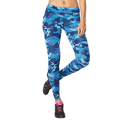 Zumba Fitness Camo Perfect Long - Pantalones para mujer, color azul, talla XS