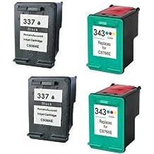 Prestige Cartridge HP 337 / HP 343 Pack de 4 cartuchos de tinta para HP Deskjet/Photosmart/Officejet Serie, color y negro