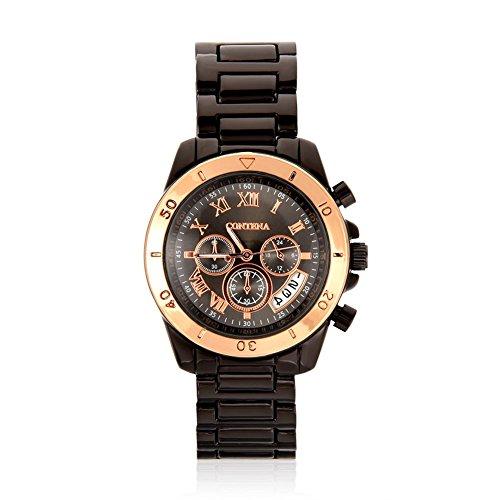 Armbanduhr, Filfeel modische Frauen weibliche Quarz Uhren Alloy Strap Analog Armbanduhr Geschenk(Black + Rose Gold) - Frauen Coach Uhren Gold