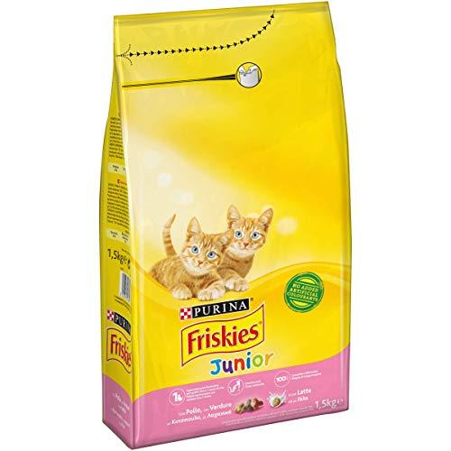 Purina Friskies Crocchette Gatto Junior con Pollo, Latte e Verdure Aggiunte, 1.5 kg