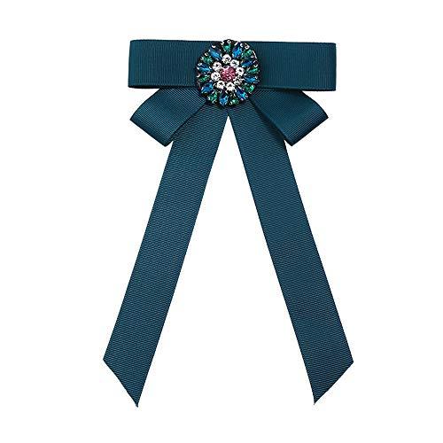 ZSRHH-Neckchiefs Halstücher Frauen Krawatte Bogen Brosche Shirt Kleid Strass Band Brosche Schals Schal Clip Schnalle Kleidung Dekoration Schmuck für Damen Mädchen (Farbe : Grün) (Grünen Jungen, Bogen-krawatte)