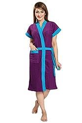 Be You Fashion Women Terry Cotton Voilet Two-Tone Bath Robe