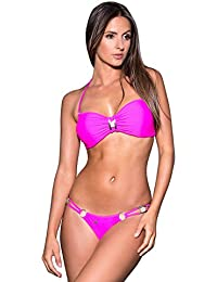 Maillot de Bain Femme Tanga Bikini Brésilien uni Noir Rose Orange Corail Vert Maldives - Monaco