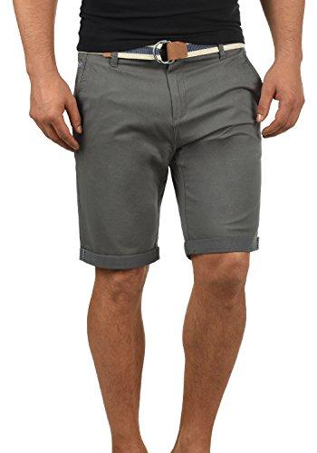 !Solid Monty Herren Chino Shorts Bermuda Kurze Hose Mit Gürtel Aus Stretch-Material Regular-Fit, Größe:3XL, Farbe:Dark Grey (2890)