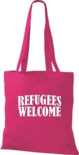 Shirtstown Stoffbeutell Refugees Welcome, Flüchtlinge willkommen, Bleiberecht viele Farben Fuchsia