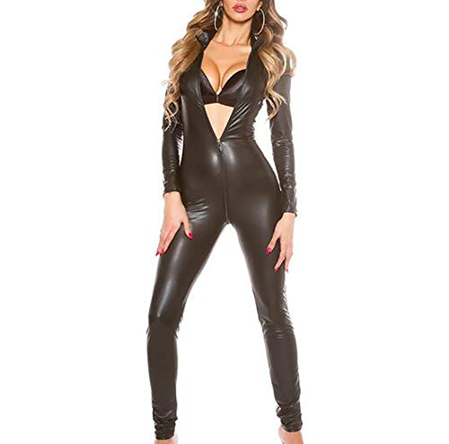 Catwoman Kostüm Dress Up - SHANGLYJ Frauen Latex Catsuit Kunstleder Strecken Bodysuit Jumpsuit Dessous Stage Performance Kostüm,Schwarz,XXXXXL
