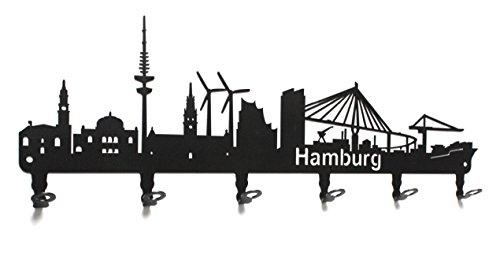 steelprint.de Wandgarderobe - Skyline Hamburg - Flurgarderobe 58 cm - HH - Kleiderhaken, Hakenleiste, Garderobeneiste, Garderobenhalter, Garderobe - Metall, schwarz