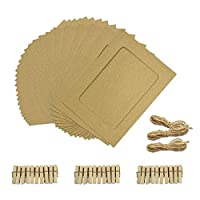 Aosilon Paper photo frame 30PCS 5x7 inch kraft paper picture frame with mini clothespins and jute twine (Brown)