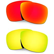 Hkuco Mens Replacement Lenses For Oakley Inmate Red/24K Gold Sunglasses