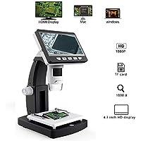 BESTSUGER Microscopio Digital, microscopio Digital LCD de 4,3 Pulgadas con Zoom de ampliación