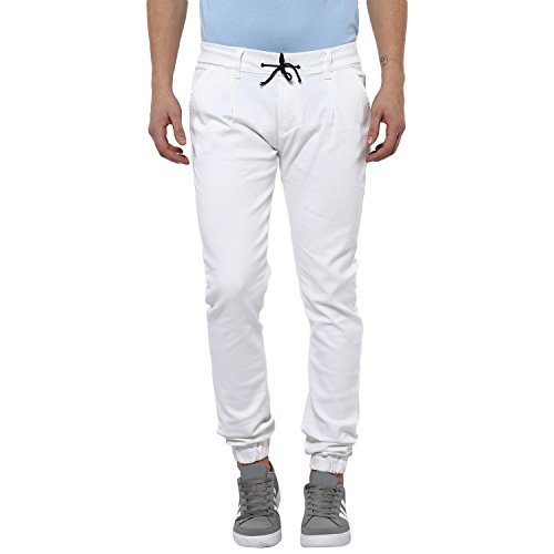 Urbano Fashion Men's White Slim Fit Stretch Jogger Jeans