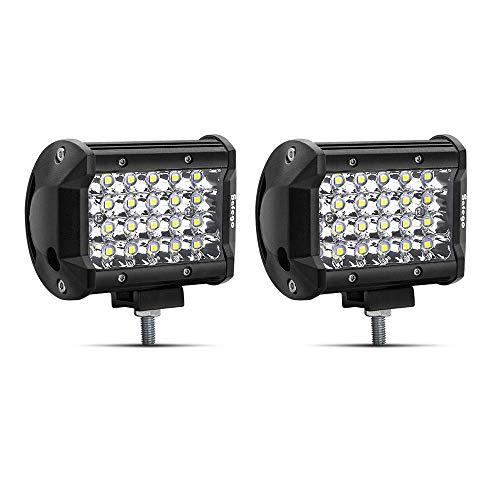 Safego 4' 72W LED Faro da Lavoro Luce Barra 6000LM Faretto a LED Impermeabile IP67 Fendinebbia Luci per Off Road SUV ATV Camion Barca Mining Spotlight 12V 24V, 1 anno di Garanzia, 2 pezz