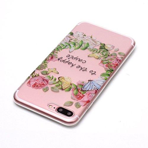 Custodia per iPhone 8 Plus, Custodia per iPhone 7 Plus ,JIENI Trasparente Protezione Morbido Art Datura fiori TPU Bumper Cover Silicone Flessibile Case per iPhone 8 Plus et iPhone 7 Plus XS68