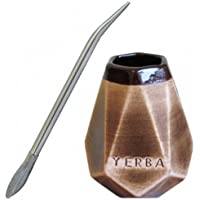 Grande Mate Ceramica Forma Prisma con Bombilla