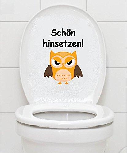 WC Aufkleber - Schön hinsetzen! - Eule Toilettendeckel A074