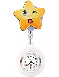 Nurses Quartz Clip-on Fob Brooch Hanging Pocket Silicone Watches Easy Pull - Smile Face Star(White)