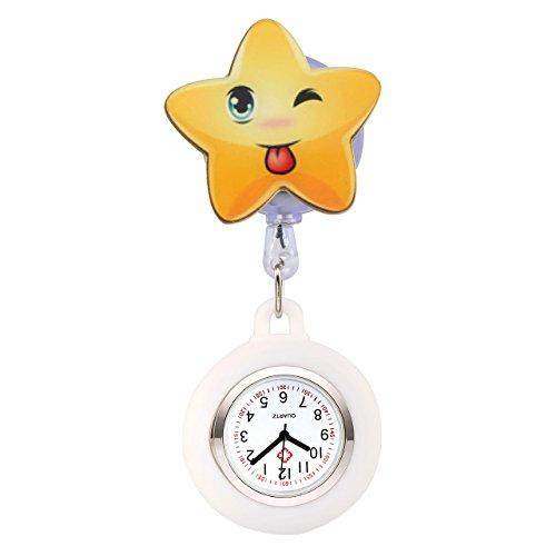 JSDDE Krankenschwester Uhr Pulsuhr Nurse Watch Kitteluhr Silikon Cartoon Taschenuhr Schwesternuhr mit Clip #4